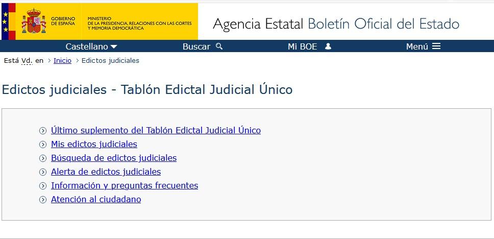 Ya está disponible el Tablón Edictal Judicial Único